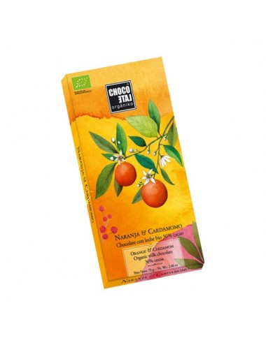 Tableta de Cocolate con Leche 36% Cacao con Naranja y Cardamomo Orgániko 70 g