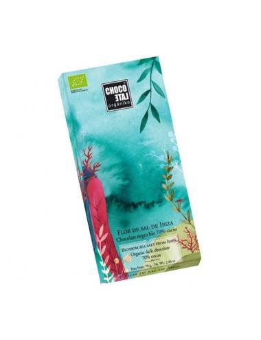 Tableta de Chocolate Negro 70% Cacao con Flor de Sal de Ibiza Orgániko 70 g