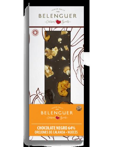 Chocolate negro 64% con orejones de melocotón de Calanda y nueces